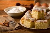 foto of curd  - Horizontal photo of Several portions of curd cake on a plate fork and cinnamon on jute cloth on left - JPG