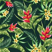picture of jungle flowers  - Seamless pattern with tropical flowers in watercolor style - JPG