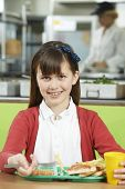 pic of school lunch  - Female Pupil Sitting At Table In School Cafeteria Eating Unhealthy Lunch - JPG