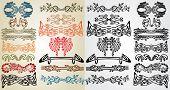 stock photo of art nouveau  - set pattern element art nouveau color and black - JPG