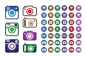 image of megapixel  - Set Collection of Colorful Hipster Trend Camera and Digital Camera Icons - JPG