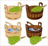 stock photo of bath tub  - sauna baths with birch twigs in tub isolated - JPG