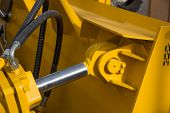 picture of bulldozer  - Detail of hydraulic bulldozer piston excavator arm - JPG