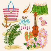 foto of ukulele  - Summer holidays illustration with tropical fish - JPG