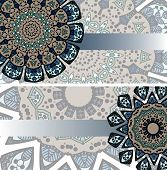 foto of indian blue  - Two vector cards with green-blue ornament from indian mandalas in ethnic style