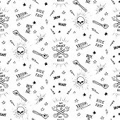 picture of silkscreening  - Vintage traditional tattoo biker seamless pattern - JPG