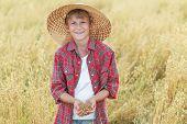 foto of oats  - Portrait of smiling teenage farm boy is with golden beige oat seeds in cupped palms at ripe field - JPG