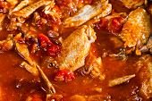 stock photo of stew  - Stewed chicken with spices in a tomato sauce - JPG