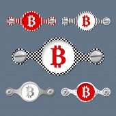 stock photo of bit coin  - five abstract objects with pattern and bit coin icon - JPG