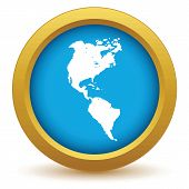 stock photo of continent  - Gold continent America icon on a white background - JPG