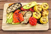 stock photo of sweet-corn  - Grilled Vegetables On The Cutting Board - JPG