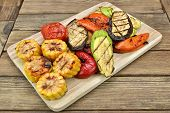 foto of sweet-corn  - Grilled Vegetables On The Wood Cutting Board - JPG