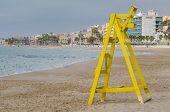 pic of lifeguard  - Lifeguard seat on La Vila Beach Costa Blanca Spain - JPG