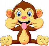 foto of tease  - Vector illustration of Cartoon monkey making a teasing face - JPG