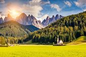 image of breathtaking  - Countryside view of the valley Santa Maddalena in the National park Puez Odle or Geisler  - JPG