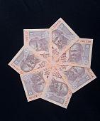 foto of mahatma gandhi  - Circular design made of Indian currency  - JPG