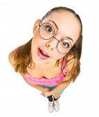 picture of nerd glasses  - Funny schoolgirl with nerd glasses isolated - JPG