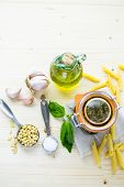 image of pesto sauce  - Homemade basil pesto sauce with fresh ingredients.