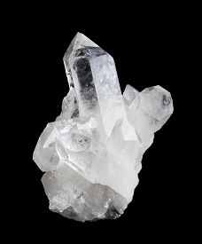 picture of cluster  - Quartz crystal cluster high size on black background - JPG