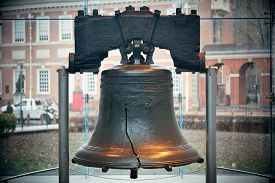 stock photo of city hall  - Liberty Bell and Independence Hall in Philadelphia - JPG