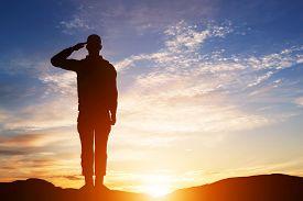 stock photo of marines  - Soldier salute - JPG