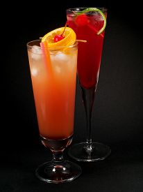 stock photo of vodka  - Sex on the beach and Cherry Vodka cocktails - JPG
