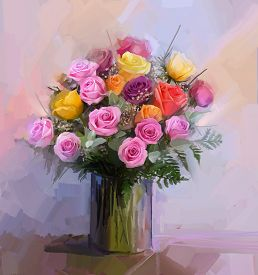 pic of rose flower  - Still life a bouquet of flowers - JPG