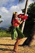 stock photo of hula dancer  - portrait of a beautiful hula girl dancing on the beach - JPG
