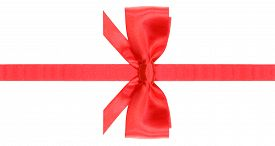 picture of box-end  - symmetric red satin bow with horizontal cut ends on narrow ribbon isolated on white background - JPG