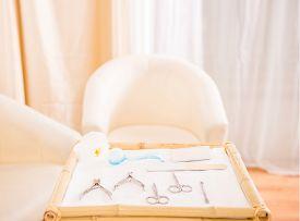 foto of beauty salon interior  - Beautiful manicure room in a modern beauty salon. ** Note: Shallow depth of field - JPG