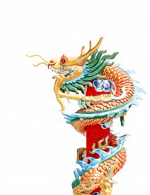pic of dragon  - Chinese style dragon statue, Chinese Dragon Wrapped around red pole