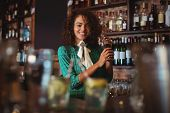 Portrait of female bartender mixing a cocktail drink in cocktail shaker at counter poster