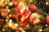 stock photo of christmas-present  - Christmas tree and lights - JPG