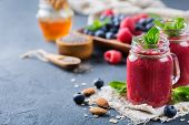 Healthy Mixed Smoothie For Breakfast With Berries, Blueberry, Raspberry poster