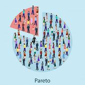 Isometric Flat 3D Isolated Concept Vector Pareto Principle poster