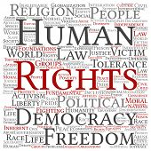 Concept or conceptual human rights political freedom, democracy square word cloud isolated backgroun poster