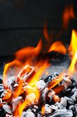 picture of flame-grilled  - Barbecue Grill flame fire charcoal BBQ - JPG