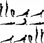 picture of yoga silhouette  - Silhouette of First Yoga exercise Salute to Sun - JPG