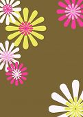 Brown Pink Yellow Retro Floral Background