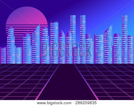 Retro Futuristic City In The