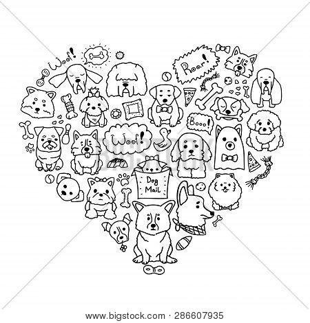 poster of Vector Image Of Love Dogs With Different Doodle Dogs In Heart Shape. Cute Doodle Illustration Of Cur