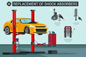 Flat Banner Replacement Of Shock Absorbers In Car. Vector Illustration. Clean Threads And Splines Fr poster