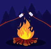 Bonfire And Marshmallow. Friends In Night Camping At Campfire. Marshmallow Vector Concept. Illustrat poster