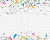 Color Confetti Carnival Party Background. Falling Confetti Ribbons. Fiesta Celebration, Birthday Or  poster
