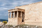The Caryatid Porch Visible As Part Of The Ancient Erechtheion Temple In The Acropolis, In Athens, Gr poster