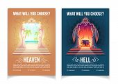 Religious Movement, Christianity Church Or Teaching Cartoon Vector Advertising Brochure, Booklet Pag poster