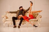 Affair At Work. Love Affair Of Bearded Man And Sexy Woman. Sweet Affair Concept. Couple In Love Has  poster