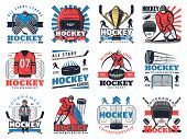 Ice Hockey Sport Club Or Championship Game Icons. Vector Symbols Of Ice Hockey Tournament Cup, Equip poster