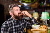 Man With Beard Drink Beer Eat Burger Menu. Enjoy Meal In Pub. Brutal Hipster Bearded Man Sit At Bar  poster