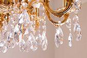 Golden Chandelier Close-up. Beautiful Vintage Crystal Chandelier Hanging On A Ceiling. poster